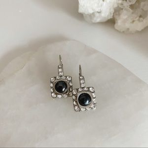Black tourmaline & silver earrings